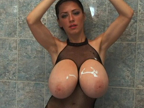 Immense jugs therein shower
