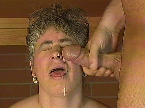 Cumshot with sexy granny