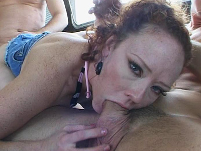 Crazy babe sucks his cock van deepthroat
