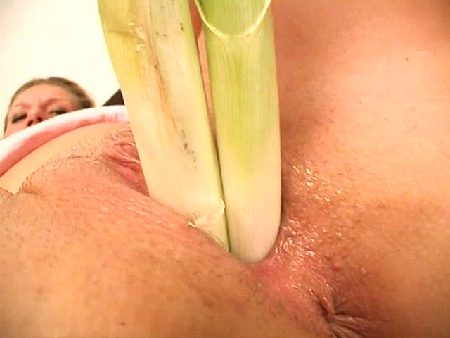 After fingering her wet shaved nooky, our busty blonde gets to more serious stuff. She moans while adding more and more leeks in her slit and fucking with all of them at once! The crazy house wife also rubs and fucks her cunt with huge black dildo on and on!